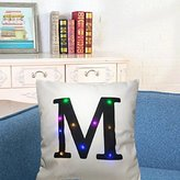 """KSBRO Stuffed Plush Cushion Case Throw Pillowcases LED Lighting Letter Decorative Pillowcases Party Halloween Christmas Decoration-17.7"""" (Case Only, Without Inner) (M)"""