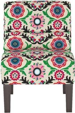 "Skyline Furniture 25"" W Cotton Slipper Chair Body Fabric: Cream/Pink/Green Damask, Throw Pillow Fabric: Cream/Pink/Green Damask"