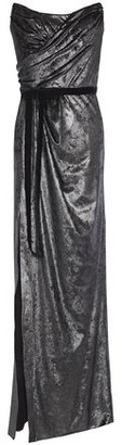 Marchesa Strapless Bow-embellished Ruched Metallic Velvet Gown
