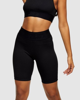 Topshop Women's Black High-Waisted - Active Ribbed Sports Cycling Shorts - Size XS at The Iconic
