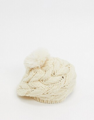 Urban Code Urbancode chunky knit beret hat with pom in cream