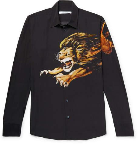 Givenchy Printed Matte-Satin Shirt