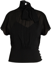 RED Valentino Tie-neck silk-blend chiffon blouse