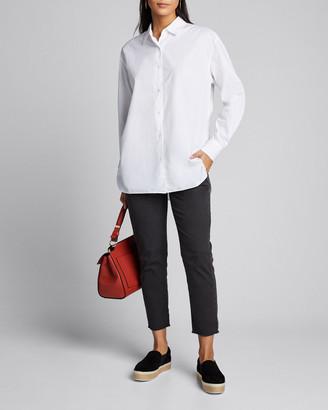 Nili Lotan East Hampton Frayed Crop Pants, Dark Gray