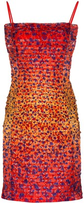 House of Holland Pintucked Cheetah-Print Mini Dress