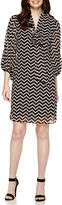 Robbie Bee Long-Sleeve Chevron Shift Dress