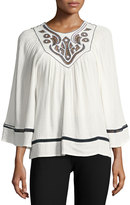 Max Studio Shadow-Check Embroidered Blouse, White/Blue