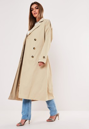 Missguided Petite Stone Oversized Midaxi Trench Coat