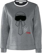 Fendi Karlito embroidered sweatshirt - women - Polyamide/Polyester/Spandex/Elastane - 38