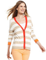 Vince Camuto Sweater, Long-Sleeve Striped Tipped High-Low Cardigan