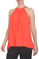 CeCe by Cynthia Steffe Crepe Pleat Neck Halter Blouse