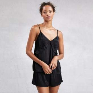The White Company Satin Frill Detail Pyjama Cami Top, Black, Extra Small