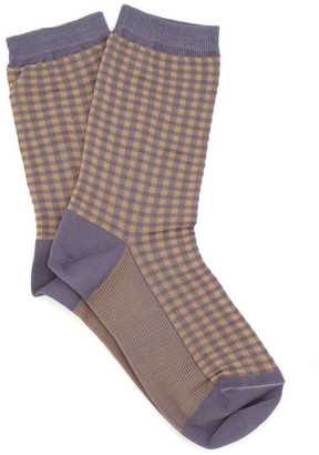 Levante Grazia Check Crew Sock LEGRCKSK Dusty