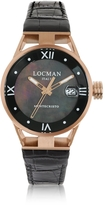 Locman Montecristo Stainless Steel and Titanium Rose Gold PVD Women's Watch w/Croco Embossed Leather Strap