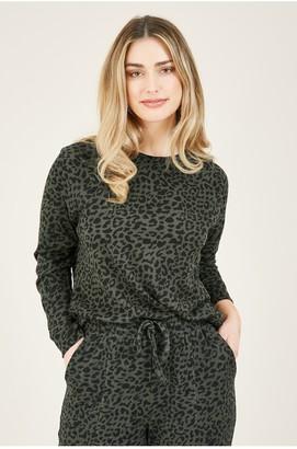 Yumi Khaki Jersey Animal Print Relaxed Sweatshirt