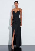 Missguided Black Satin Split Leg Pleated Maxi Dress