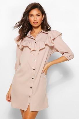 boohoo Ruffle Sleeve Collared Shift Dress