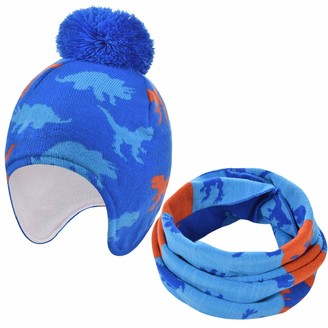 CMTOP Boys Winter Hat Baby Knitted Earflaps Hat Thicken Fleece Lining Cap for Kids Knitted Baby Hat Winter Warm Boys Girls Beanie Fleece Lining Toddler Kids Hat with Pompom
