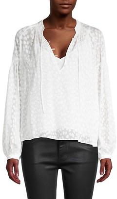 Frame Textured Silk-Blend Peasant Top