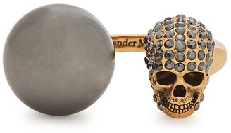 Alexander McQueen Skull And Faux Pearl Gold-tone Ring