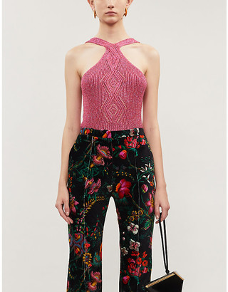Peter Pilotto Halterneck metallic knitted vest