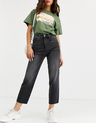 Only cropped straight leg jeans with high waist in washed black