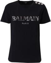 Balmain Button Embellished Logo T-shirt