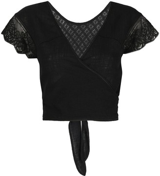 La Perla Embroidered Cropped Wrap Shirt