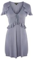 Topshop Tie Front Frill Tea Dress
