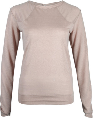Format LENE Rose Linen Jersey Sweater - S - Pink/Rose Gold/Natural