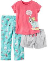 Carter's 3-Pc. Let's Roll Skateboarding Dog Pajama Set, Toddler Girls (2T-4T)