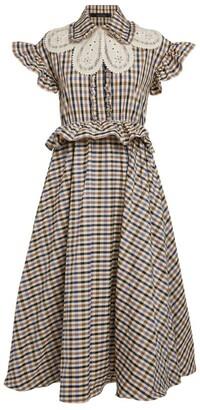 Rokh Check Ruffle-Trim Midi Dress