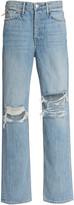 GRLFRND Denim Denim Mica Distressed Rigid High-Rise Straight-Leg Jeans