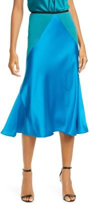 Diane von Furstenberg Carole Colorblock Satin Midi Skirt