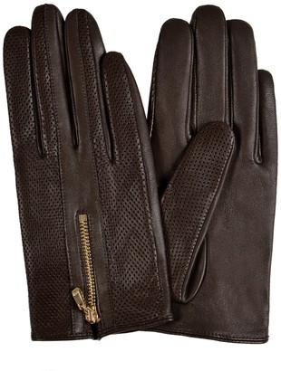 Gsg Since 1998 GSG Womens Fashion Goat Nappa Leather Driving Gloves with Zipper in Front