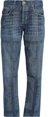 Current/Elliott Printed Mid-rise Straight-leg Jeans