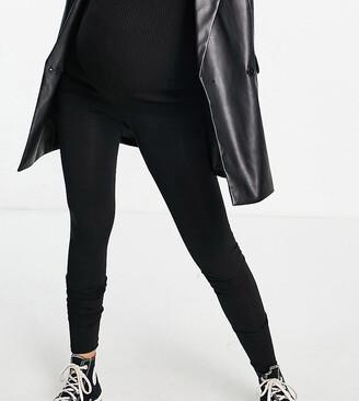 Asos DESIGN Maternity Tall over the bump premium supersoft leggings in cotton modal-Black