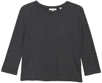 Vince 3/4 Length Sleeve Skinny Stripe Print Crew Neck Top