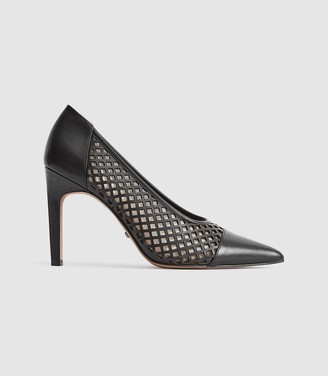 Reiss Clover - Leather Cut Out Detailed Heels in Black