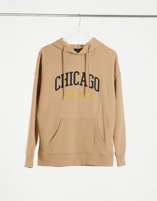 New Look Chicago slogan slouchy hoodie in camel