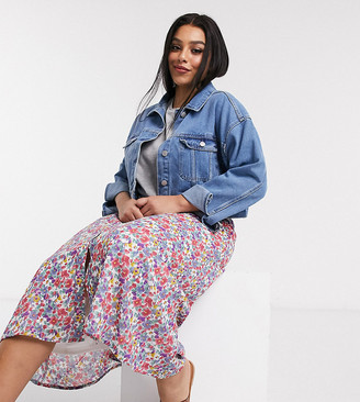 Wednesday's Girl curve button through midi skirt in vintage floral