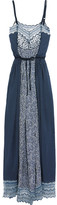 Chloé Lace-trimmed Printed Cotton-blend Crepe De Chine Maxi Dress - Navy