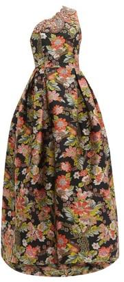 Andrew Gn Crystal-embellished Floral-brocade Gown - Black Multi