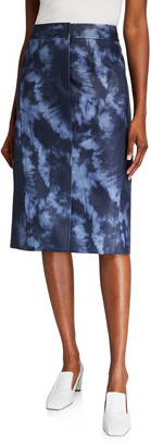 Tibi Rubberized Tie-Dye Pencil Skirt