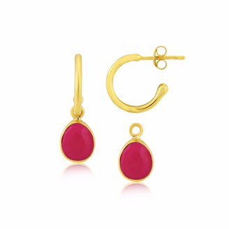 Auree Jewellery Manhattan Gold & Fuchsia Pink Chalcedony Interchangeable Gemstone Earrings