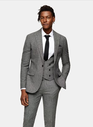 Topman HERITAGE Grey Textured Skinny Fit Single Breasted Suit Blazer With Peak Lapels