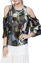 En Creme Floral Velvet Shirt