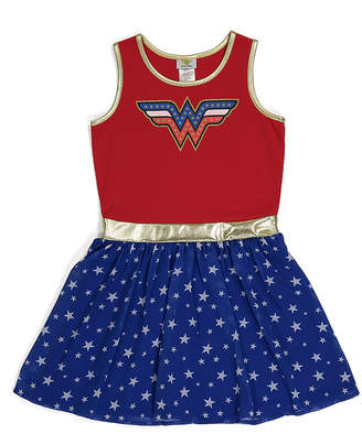 Jerry Leigh Girls' Casual Dresses - Wonder Woman Red & Navy Americana Tank Top Dress - Girls