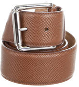 Prada Saffiano Leather Silver-Tone Belt