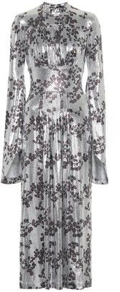 Paco Rabanne Floral metallic jersey maxi dress